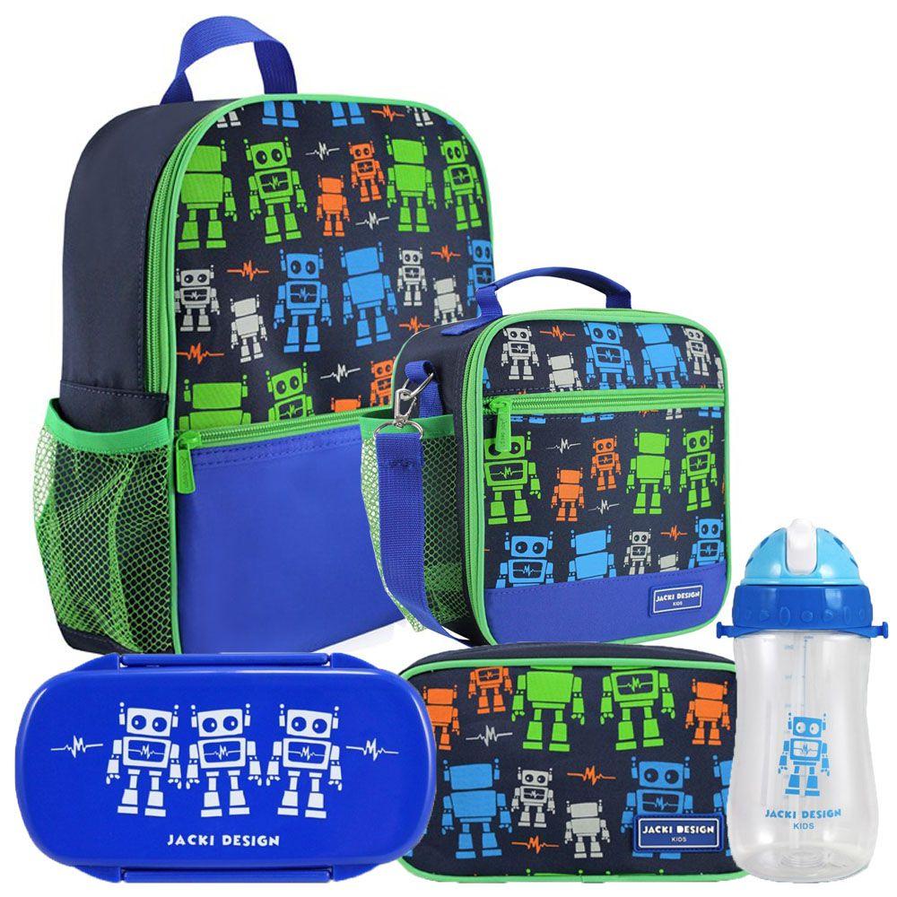 Kit Escolar Infantil Masculino Robô Mochila + Lancheira +  Marmita + Estojo + Squeeze - Jacki Design
