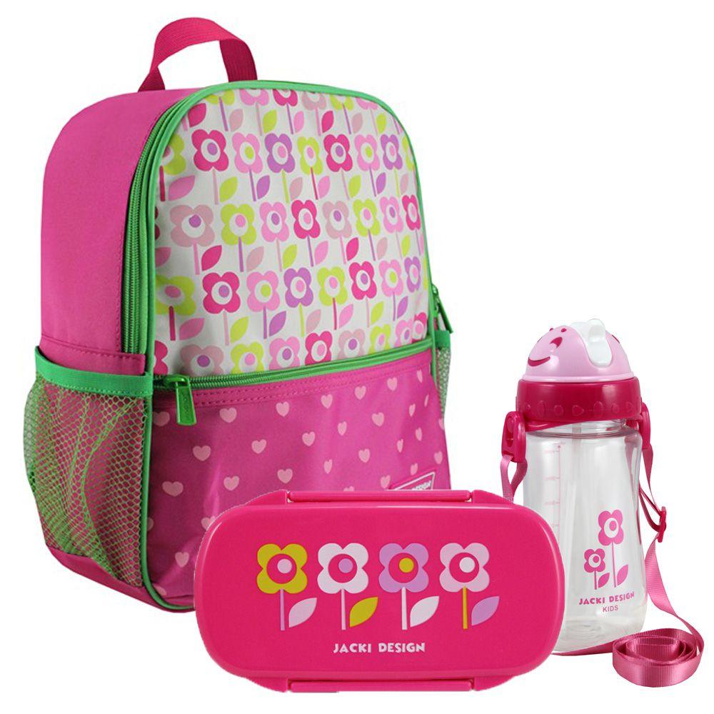 Mochila Escolar Infantil Feminina + Marmita + Squeeze - Jacki Design