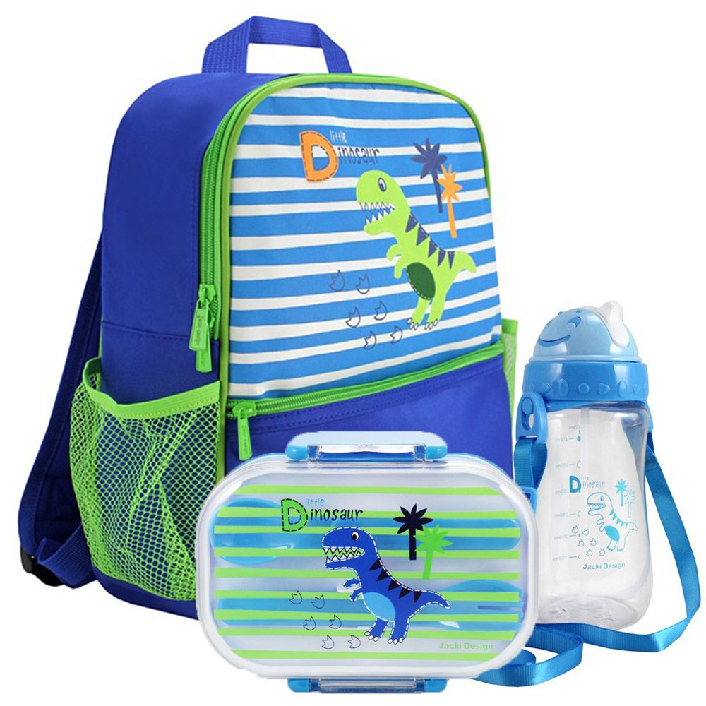 Mochila Escolar Infantil Masculina + Marmita + Squeeze - Jacki Design
