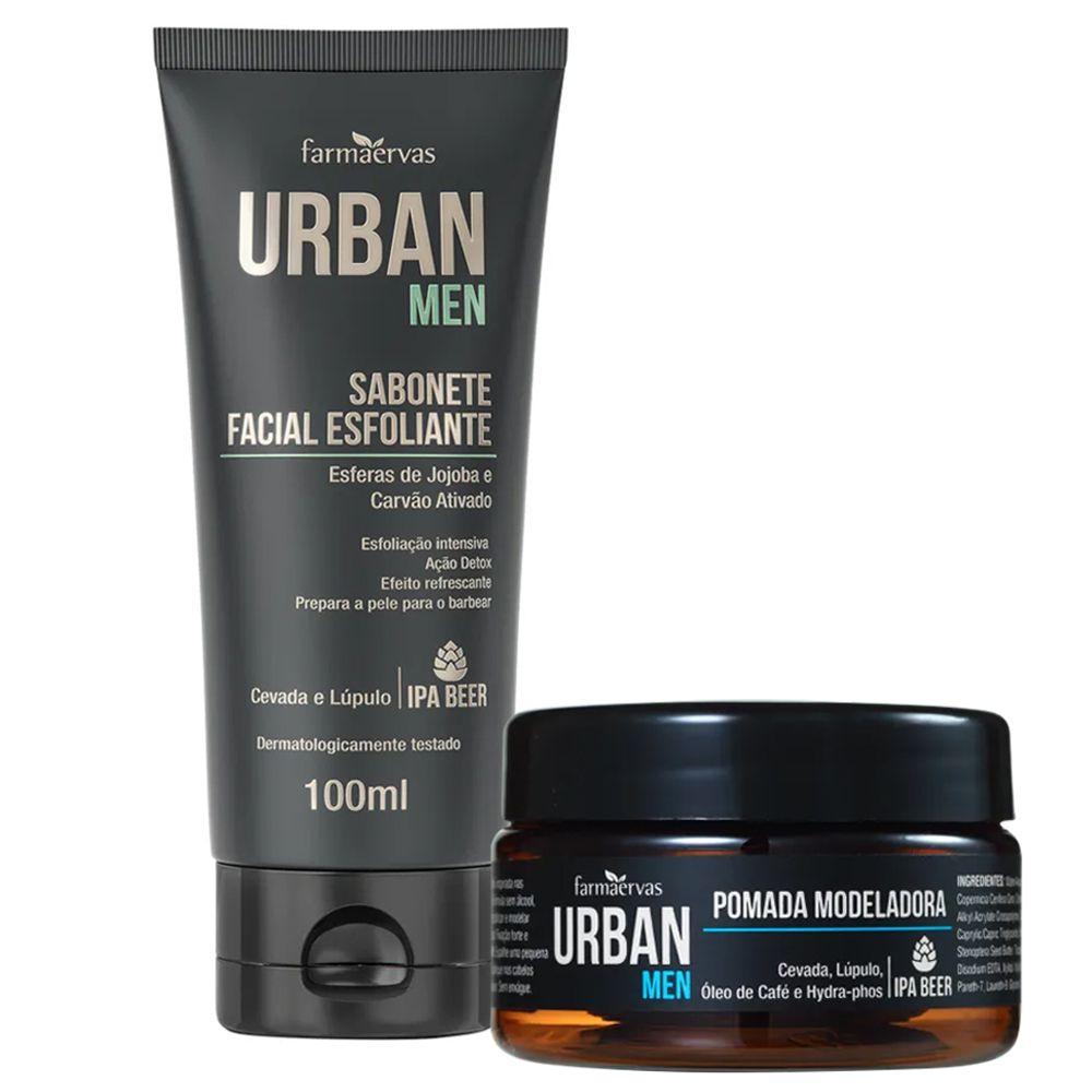 Sabonete Facial Esfoliante + Pomada Modeladora - Urban Men