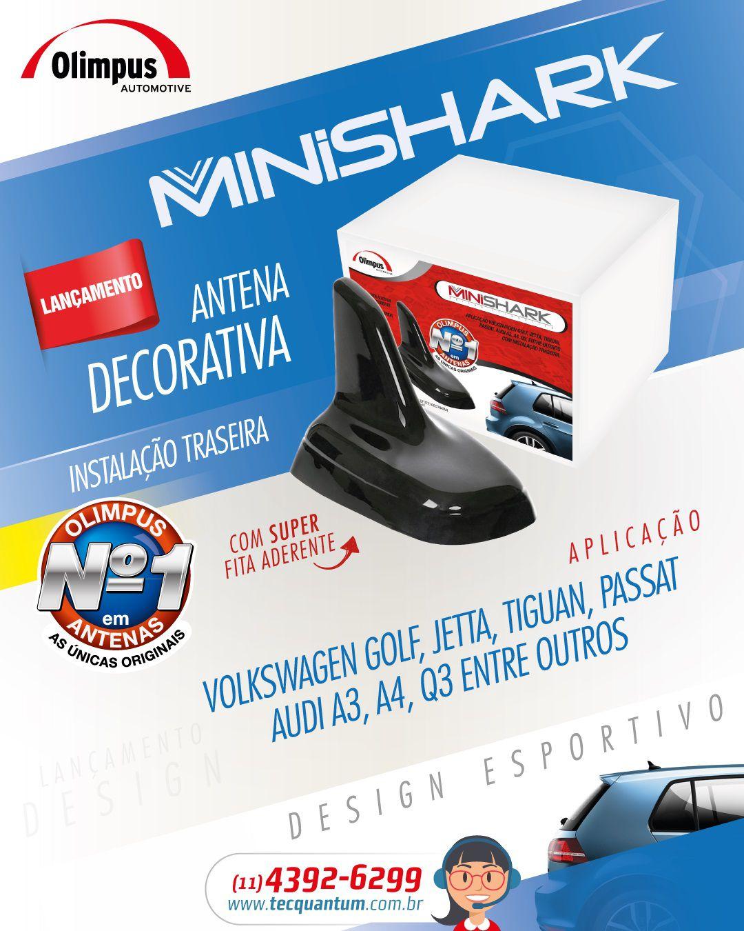 Antena decorativa MiniShark design Audi/ VW - Preta