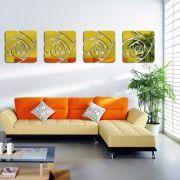 Espelho Acrílico De Parede 4 Rosas Douradas 24,5 X 102 Cm