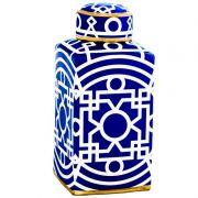 Potiche Decorativo em Cerâmica Marroquino 31,5 cm x 14,5 cm x 14,5 cm Mart Collection Azul e Branco