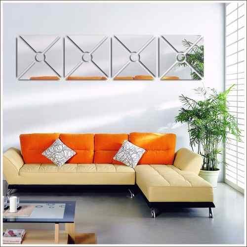 Espelho Acrílico Sala De Jantar Design Quadrado Círculo Central 24,5 x 102 cm