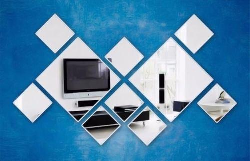 Espelho Decorativo Kit 10 Quadrados Personalisáveis