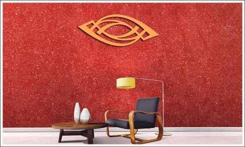 Escultura De Parede Arabesco Art Em Mdf Cor vermelho 100 x 45 cm