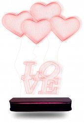 Abajur Em Acrílico Com Led Balões Love 3d