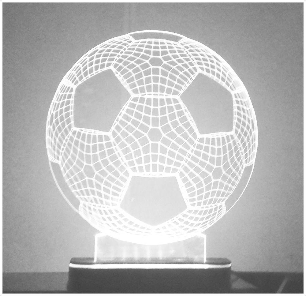 Abajur / Luminária Em Acrílico Com Led Branco Bola De Futebol