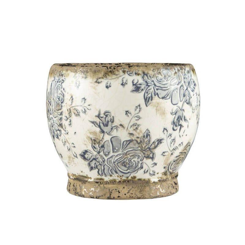 Cachepô Floral em Cerâmica Quing 13,5 cm x 16 cm Mart Collection Branco