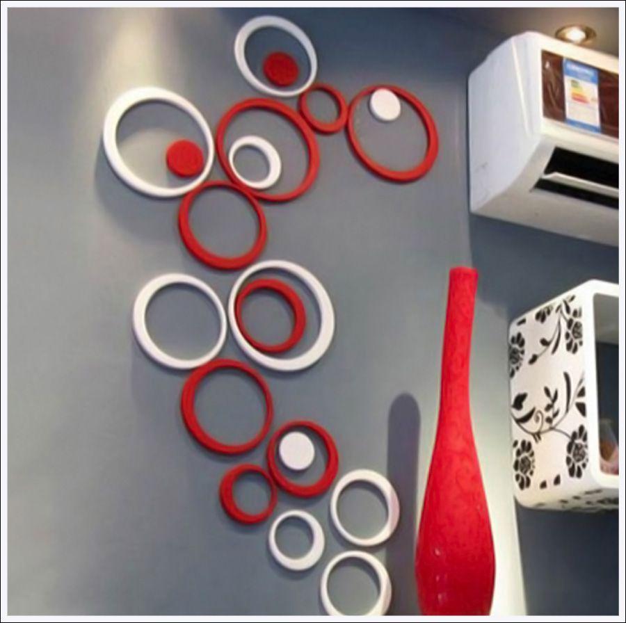 Círculos Decoração de Ambientes MDF 3d  Duas Cores 20 Peças Vermelho e Branco