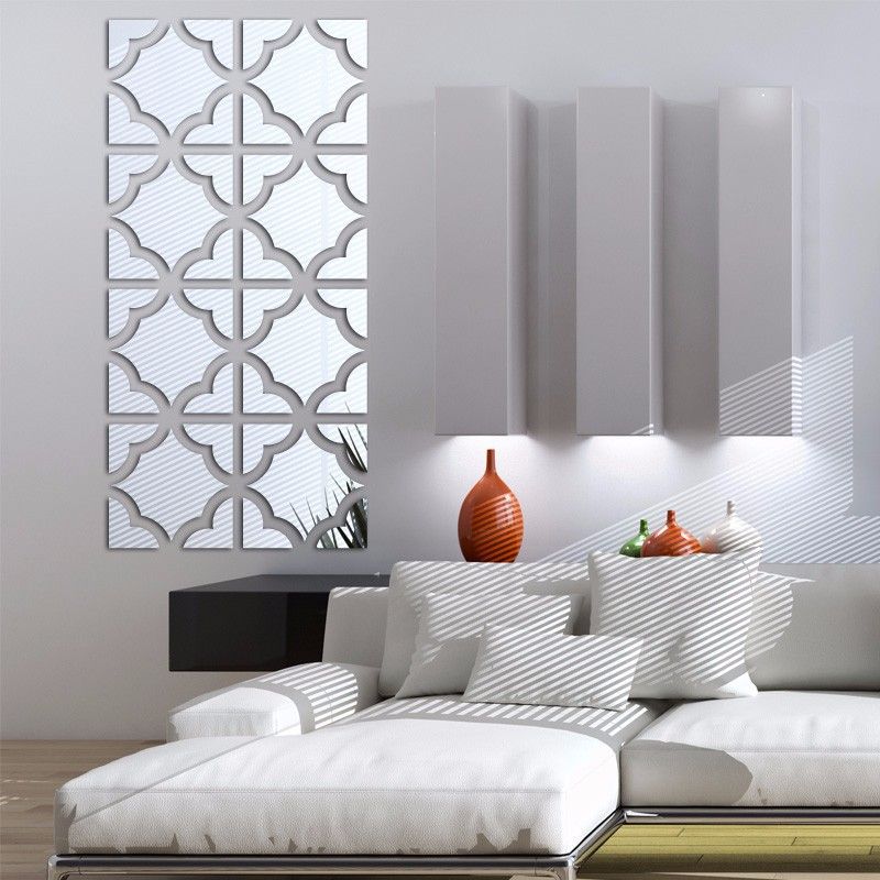 Decoração De Parede Espelhos Modelo Azulejos Tam. 33x137 Cm
