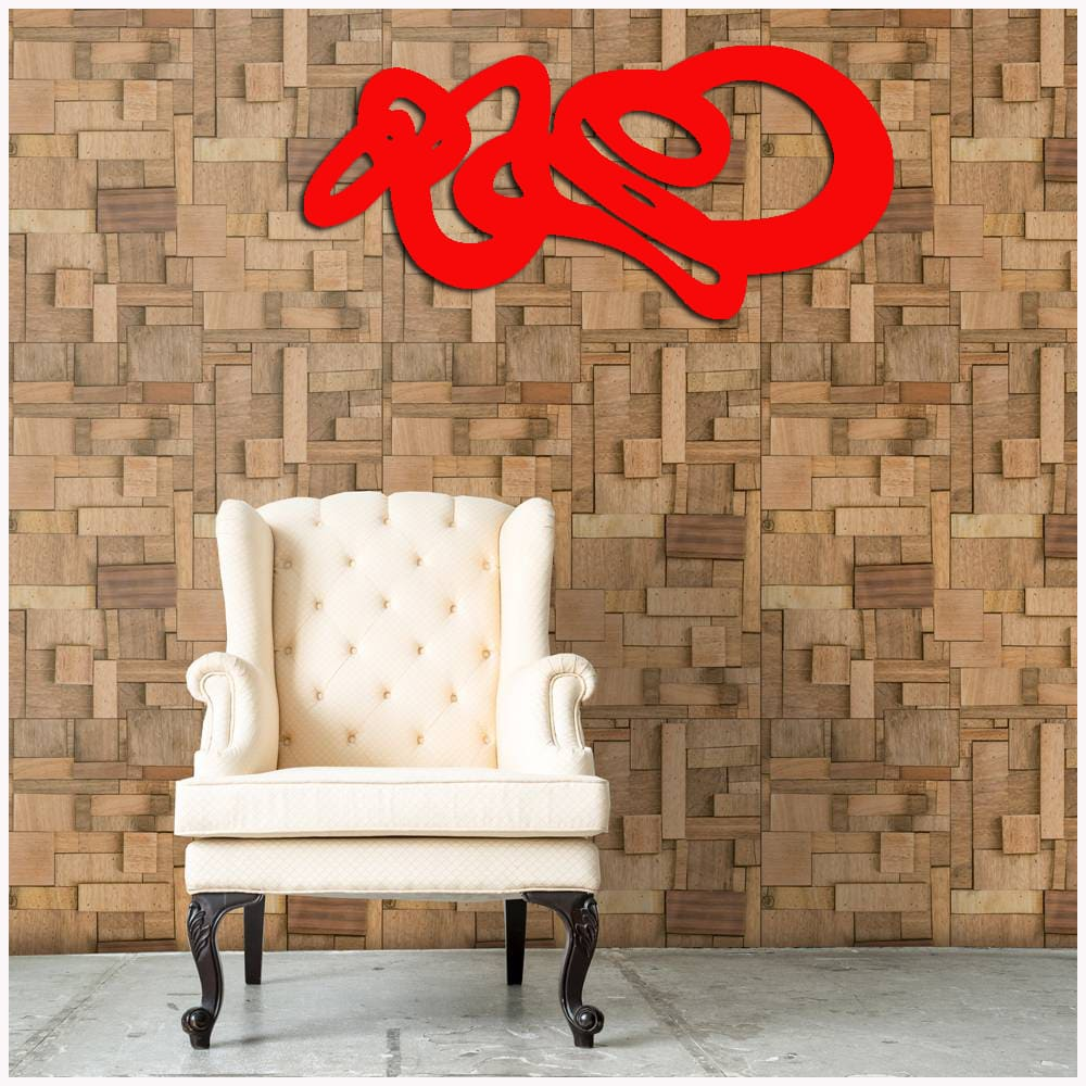Escultura de Madeira MDF  Laminado Vermelho Para Parede 100 x 50 cm