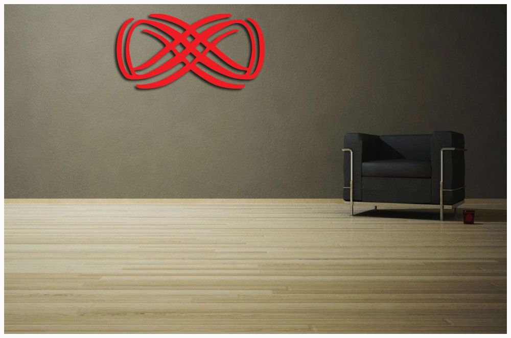 Escultura de Madeira MDF laminado Vermelho Para Parede De sala 100 x 50 cm