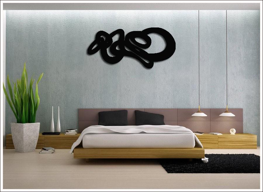 Escultura de Madeira MDF  Laminado Preto Para Parede 100 x 50 cm