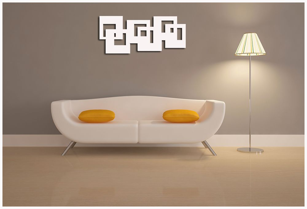 Escultura de Madeira Para Parede 100 x 44 cm MDF Laminado Branco
