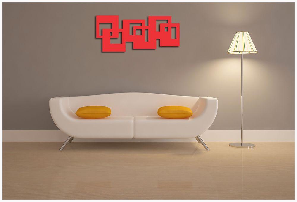 Escultura de Madeira Para Parede De sala 100 x 44 cm MDF Laminado Vermelho