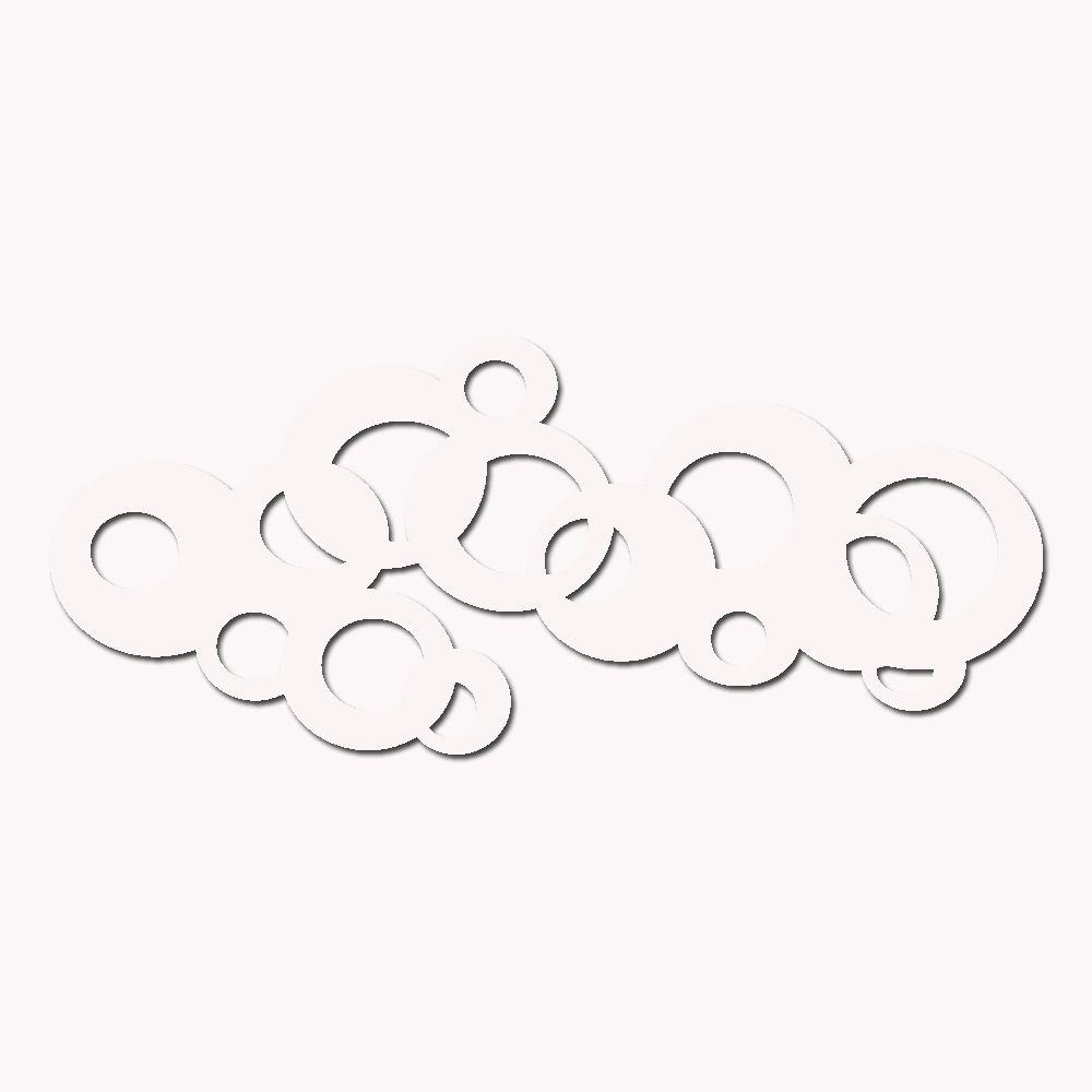 Escultura De Parede Abstrato 100 X 40 cm Em MDF Laminado Branco