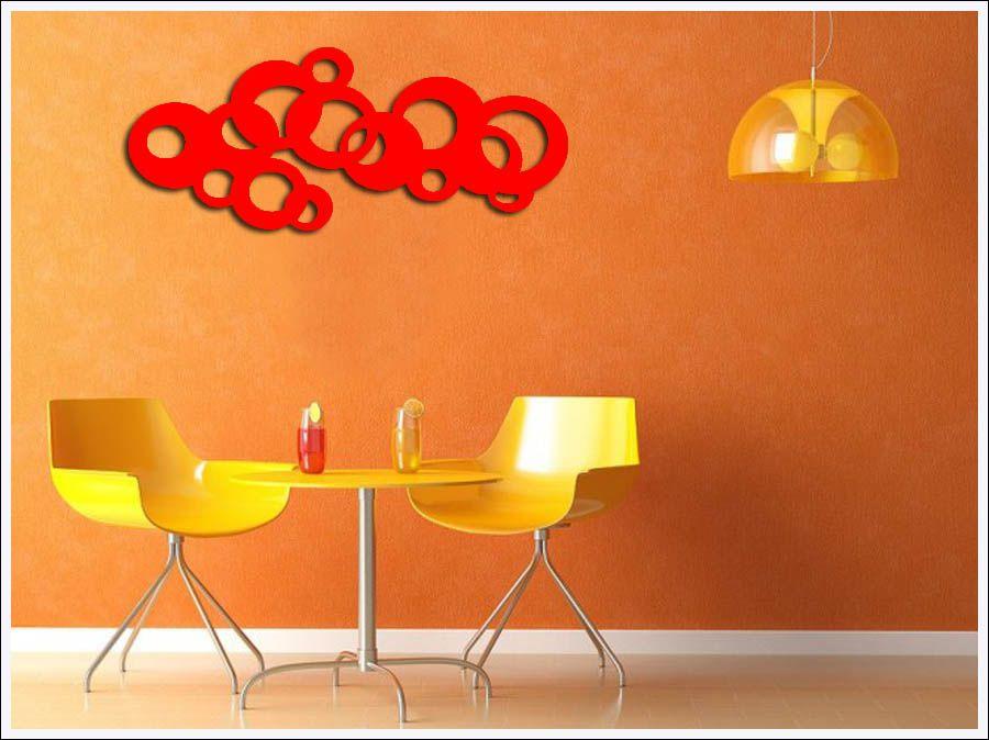 Escultura De Parede Abstrato Pintado 100 X 40 cm Em MDF Laminado Vermelho