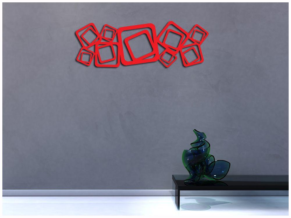 Escultura De Parede Abstrato Quadrados Vazado Vermelho 100 X 35 Cm