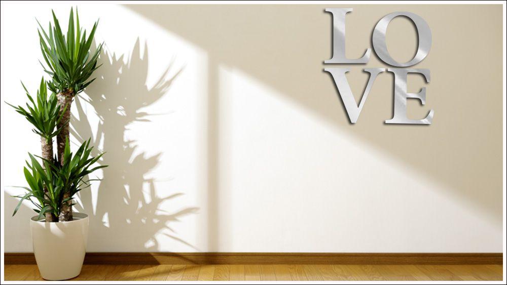 Espelhado Decorativo Love 4 Peças