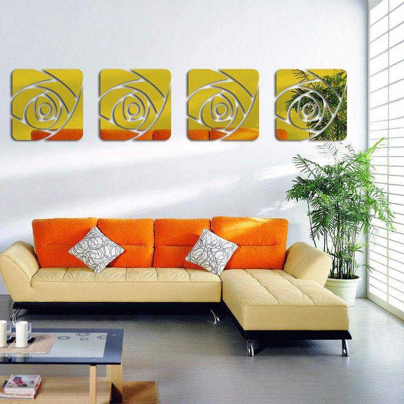 Espelho Acrílico De Parede 4 Rosas Ouro 33 X 137 Cm