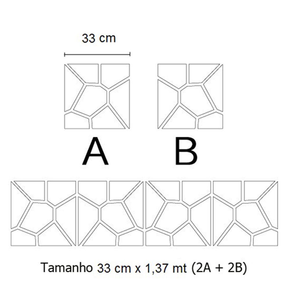 Espelho Acrílico De Parede Para Quarto de Casal Geométrico 1,37 Mt X 33 Cm