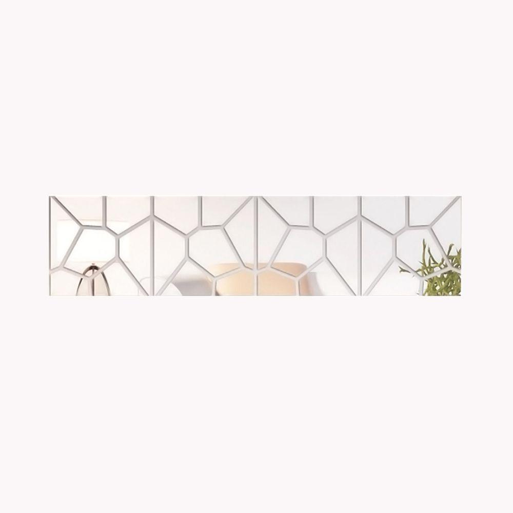Espelho Acrílico De Parede Para Sala Design Geométrico 24,5 x 102 cm