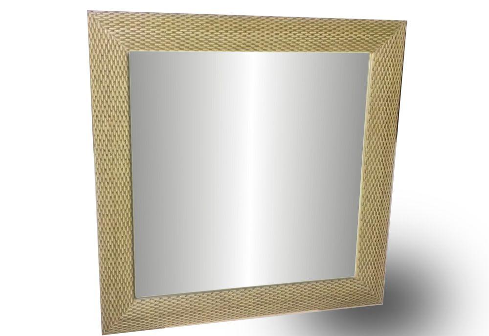 Espelho De Parede Com Moldura Tamanho 64 X 64 Cm Trança Bege