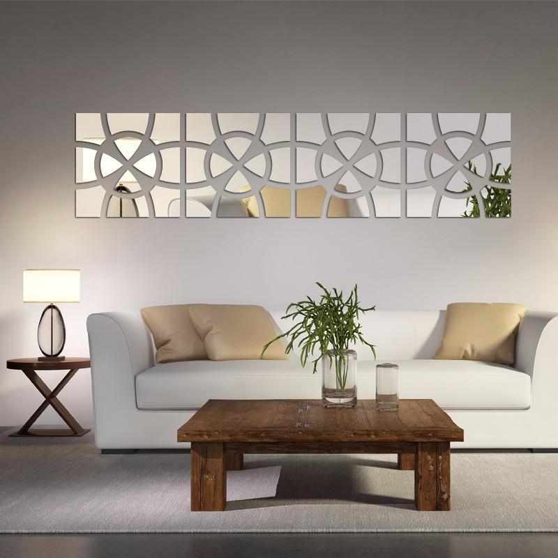 Espelho De Parede Modelo Círculo Mosaico 202x49 Cm