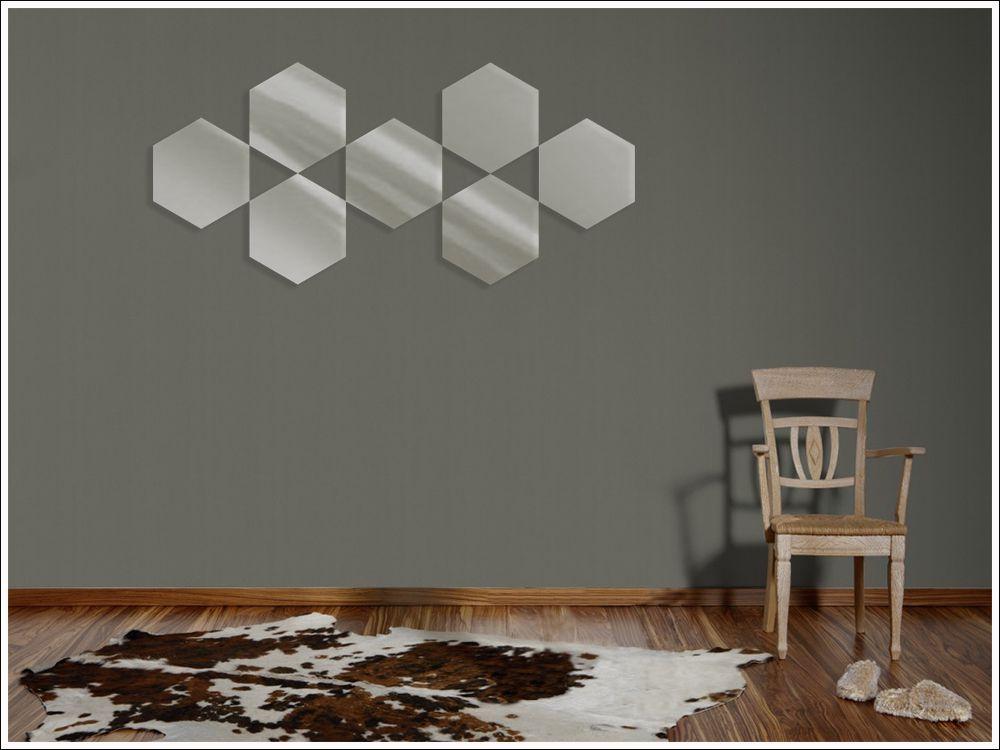 Espelho de Vidro Decorativo Modelo Hexagonal