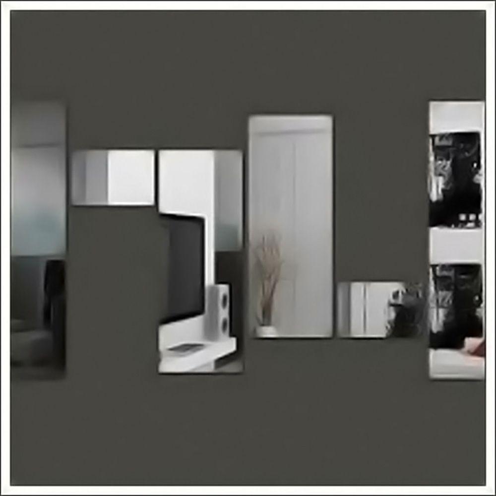 Espelho de Vidro Decorativo Retângulos Personalizável 100 x 90 cm