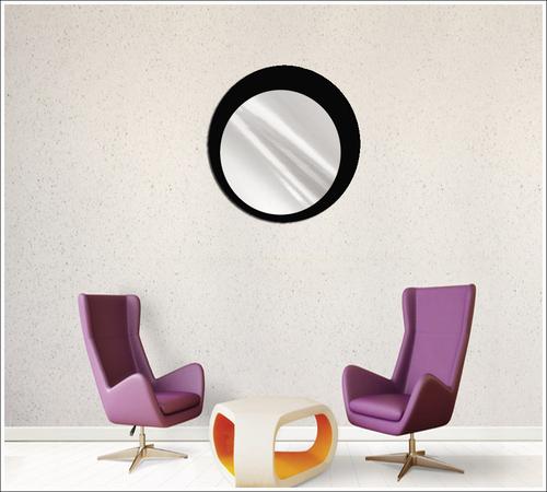 Espelho de Vidro Redondo Modelo Marroquino Preto 50 cm
