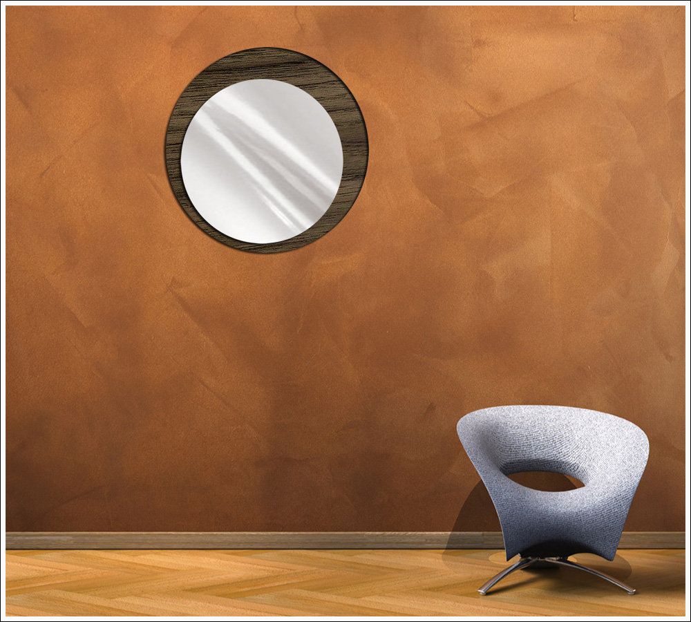 Espelho de Vidro Redondo Tipo Marroquino Madeirado 50 cm