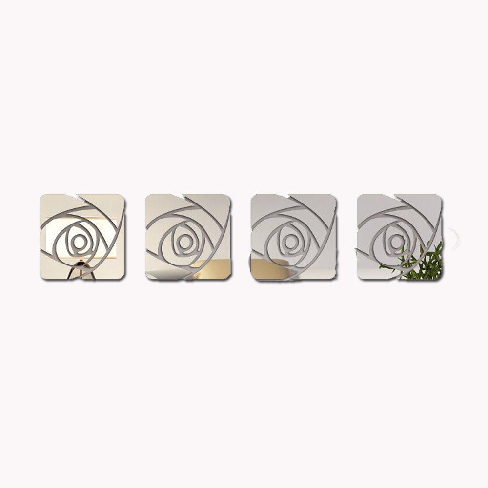 Espelho Decorativo Acrílico De Parede Design Rosa Espelhada 24,5 x 102 cm