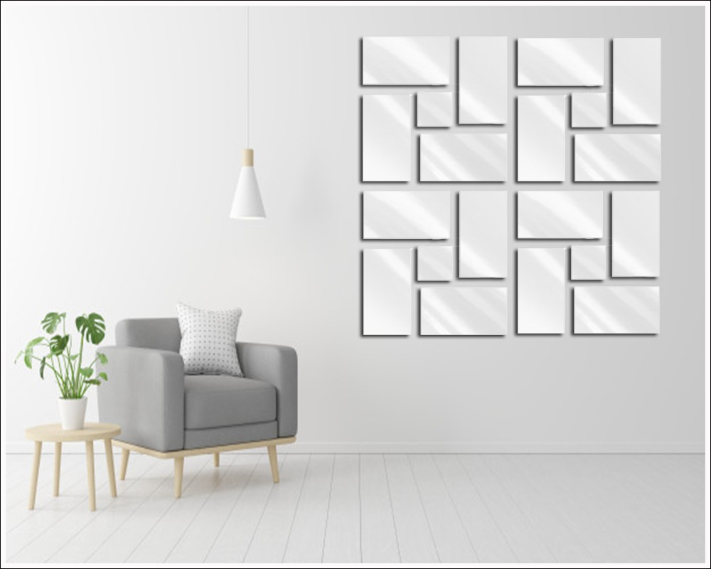 Espelho Decorativo de Vidro Quadrados Retângulos 35 x 144 cm