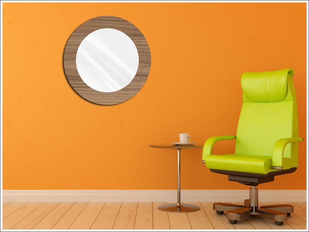 Espelho Decorativo de Vidro Redondo Tipo Anápolis Madeirado 60 cm x 60 cm