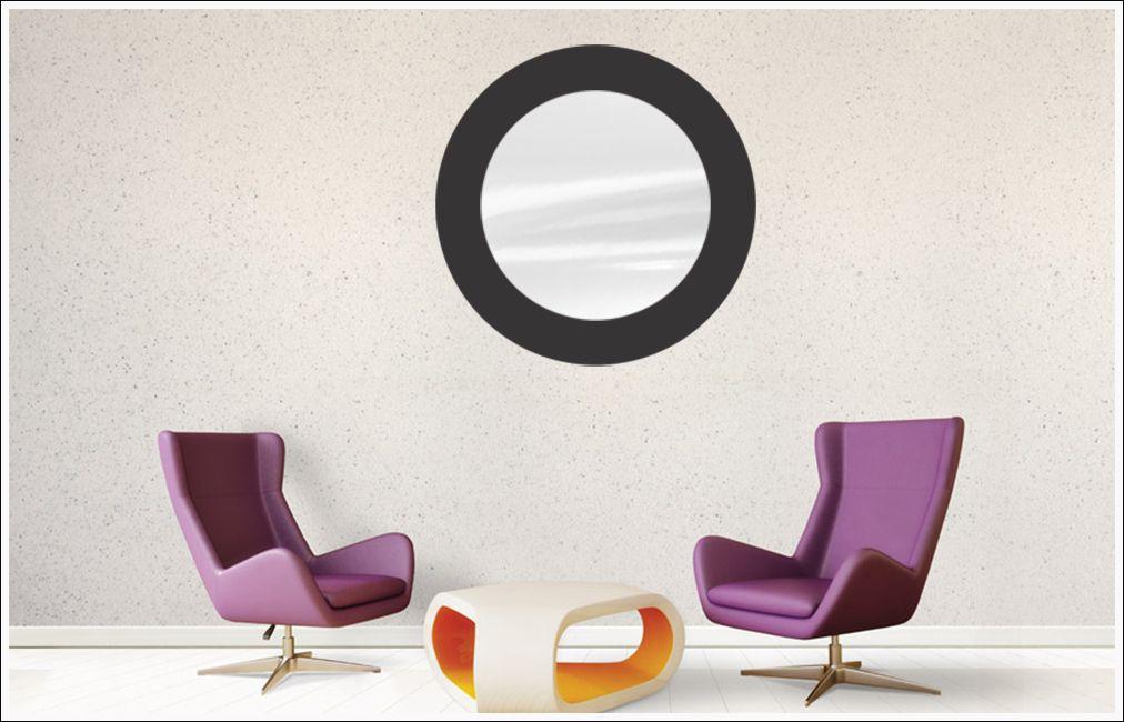 Espelho Decorativo de Vidro Redondo Tipo Anápolis Preto 60 cm x 60 cm