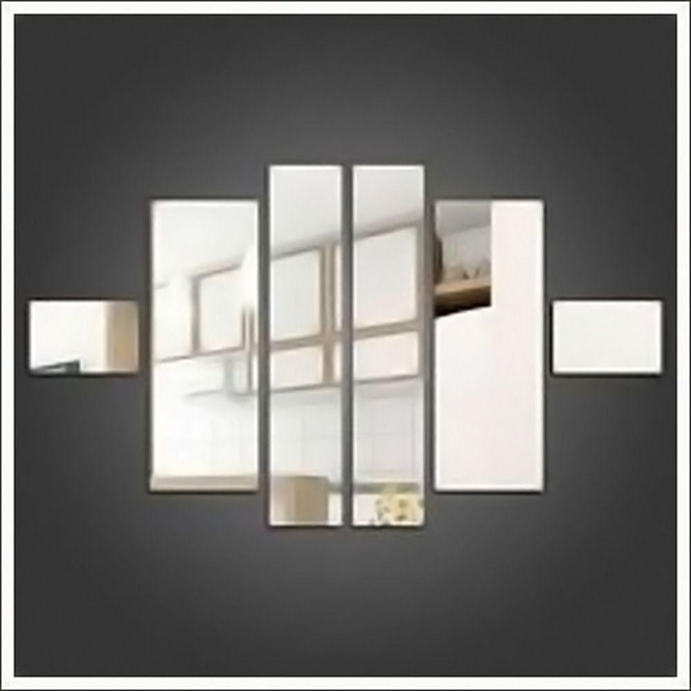 Espelho Decorativo de Vidro Retângulos Personalizável 75 x 75 cm