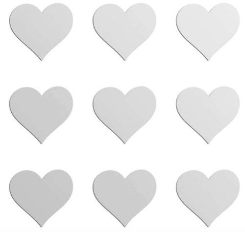 Espelho Decorativo Mini-corações 9 Peças Tamanhos 16,5 cm