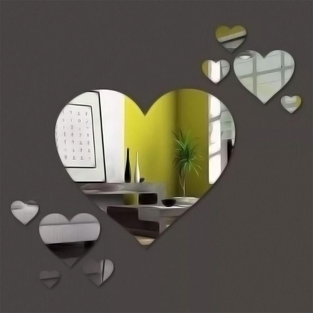 Espelho Decorativo Para Quarto Em Acrílico Corações