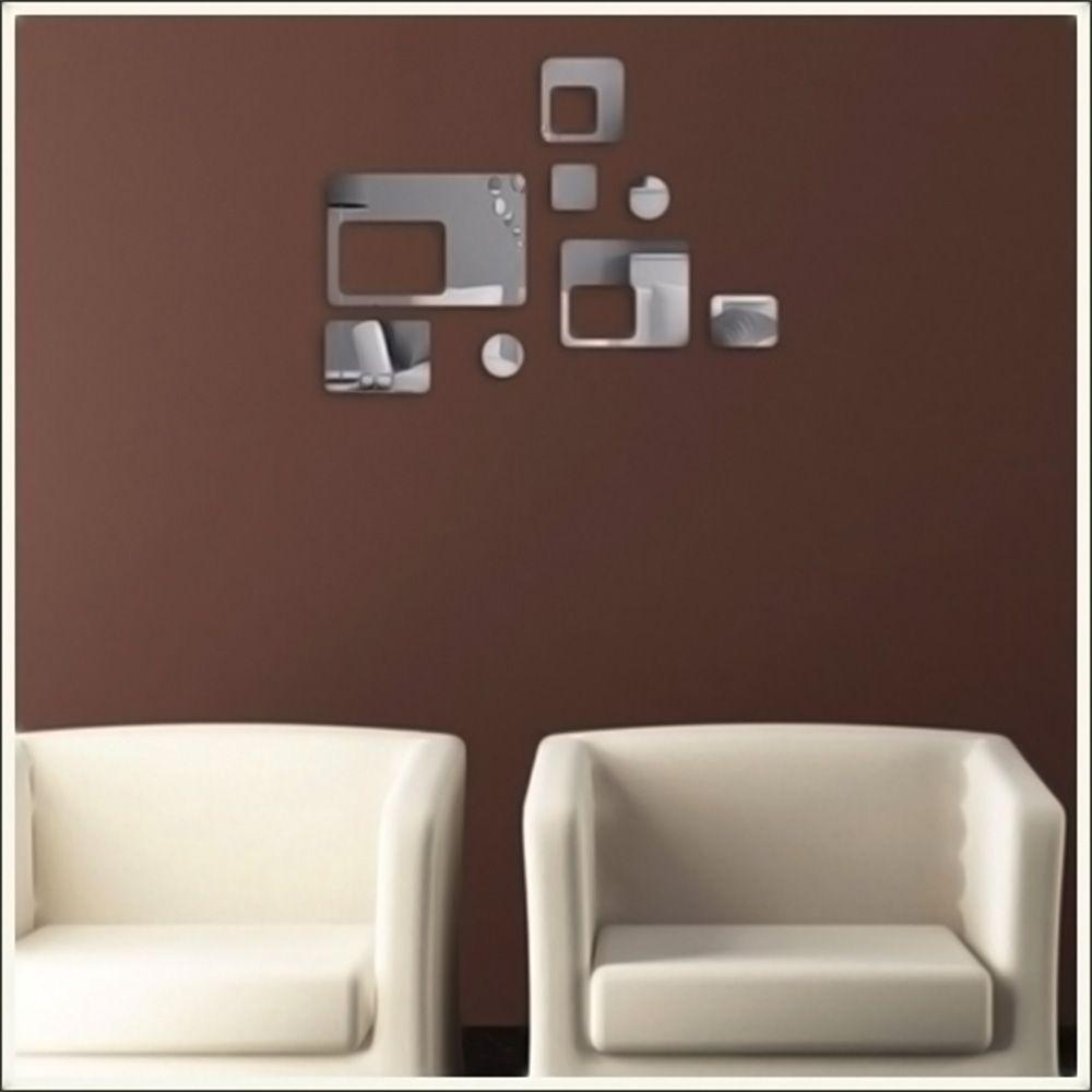 Espelho Decorativo Retângulos Vazados E Círculos Personalizável
