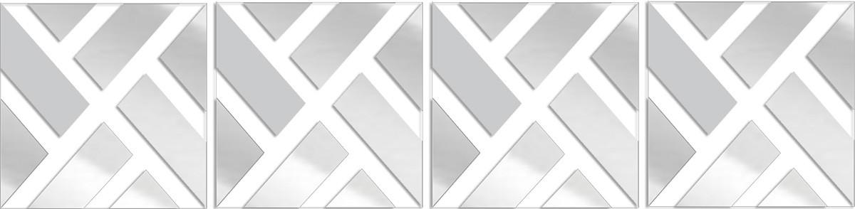 Espelho Decorativo Retângulos Diagonal 33 x 137 cm