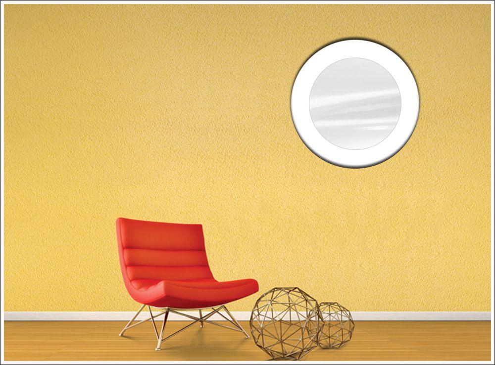 Espelho Redondo de Vidro Modelo Anápolis Branco 45 cm x 45 cm