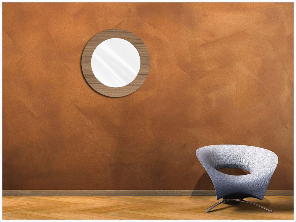 Espelho Redondo de Vidro Modelo Anápolis Madeirado 45 cm x 45 cm