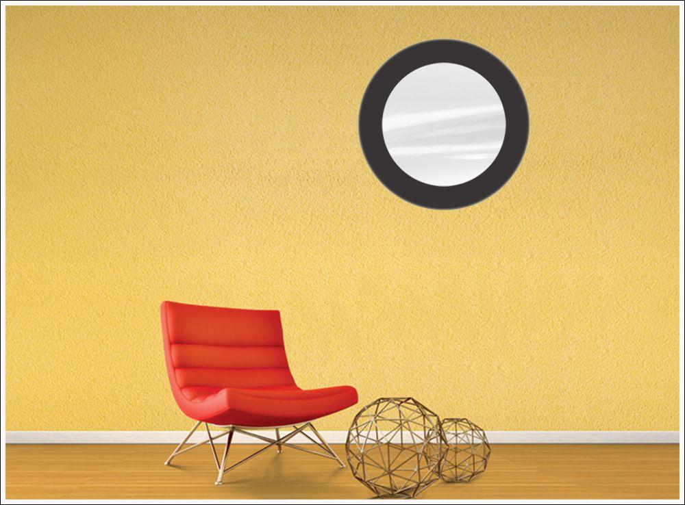 Espelho Redondo de Vidro Modelo Anápolis Preto 45 cm x 45 cm