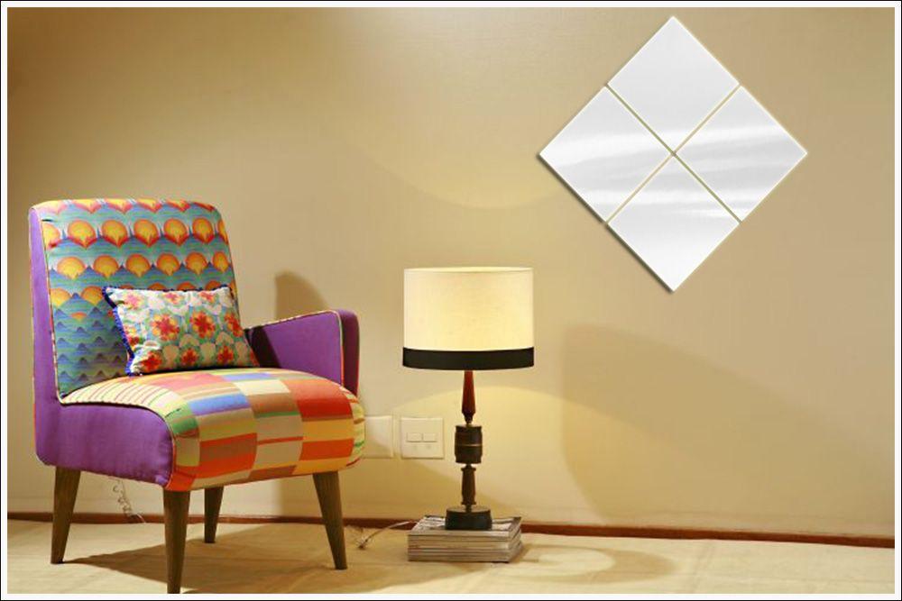 Espelhos Decorativos de Vidro Diagonal Sala Quarto Escritório 95 x 95 cm