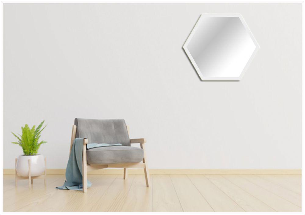 Espelhos hexagonal com moldura 45 x 37 cm Branco