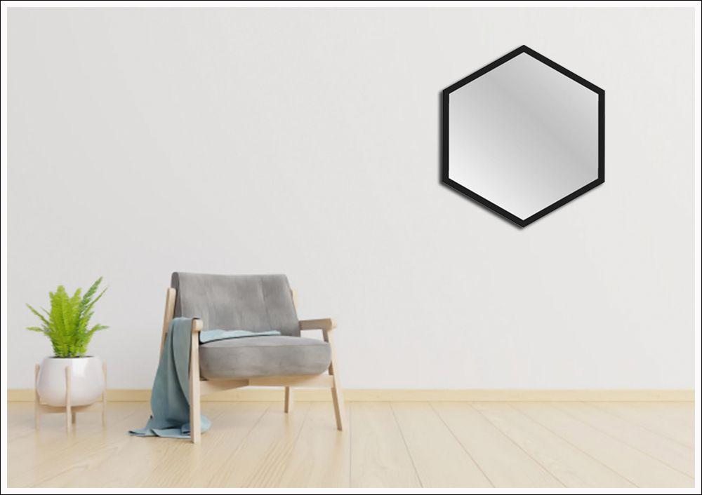 Espelhos hexagonal com moldura 60 x 52 cm
