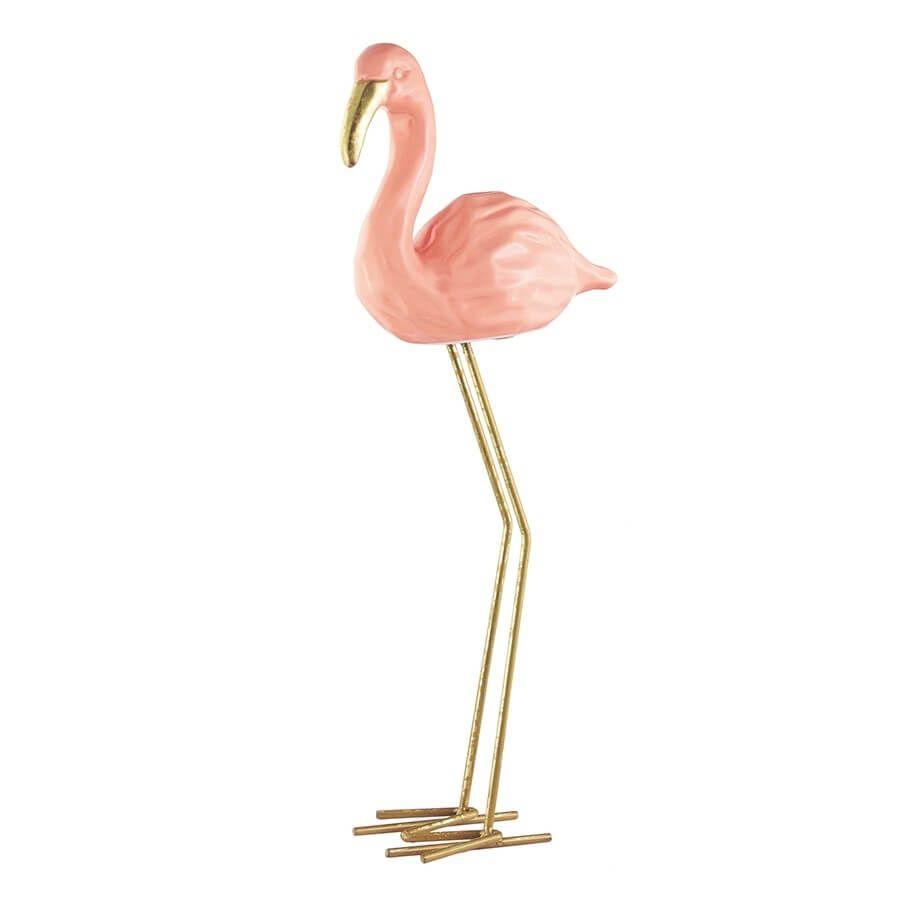 Flamingo em Pé Cerâmica 45,5 cm x 17,5 cm Mart Collection Rosa