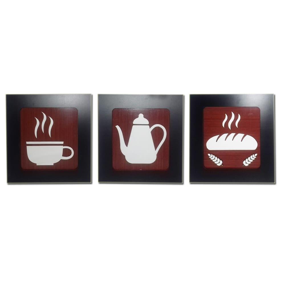 Kit 3 Quadros Decorativos para café e cozinha fabricado em MDF com relevo 33 x 30 cm